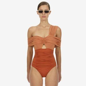 Self-Portrait Tan Draped Ruched Runway Swimsuit